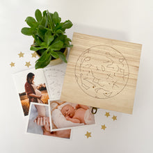 Load image into Gallery viewer, Personalised Star Map Engraved Wooden Memory Box