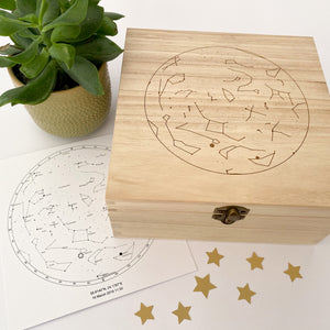 Personalised Star Map Engraved Wooden Memory Box