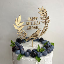 Load image into Gallery viewer, Personalised Wooden Bird and Wreath Cake Topper