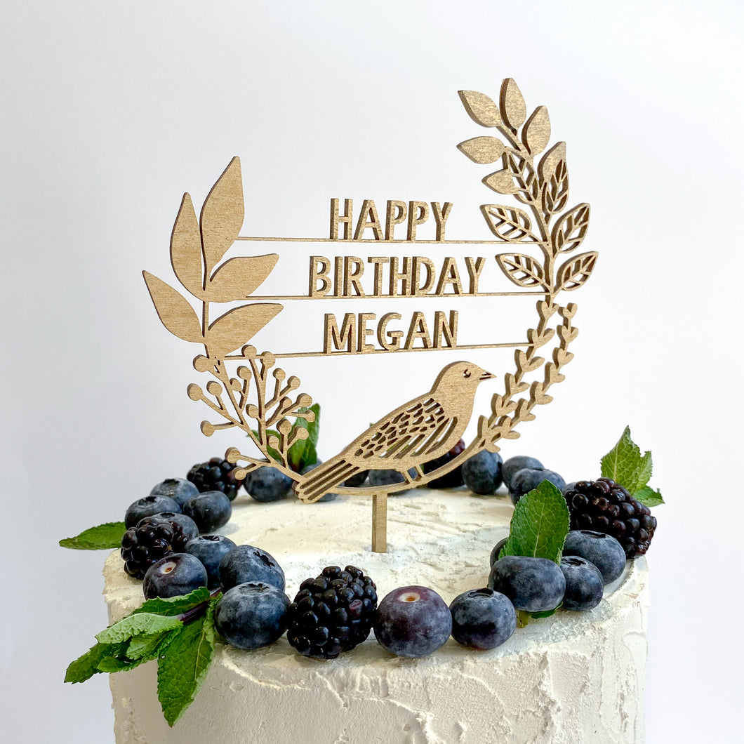 Personalised Wooden Bird and Wreath Cake Topper