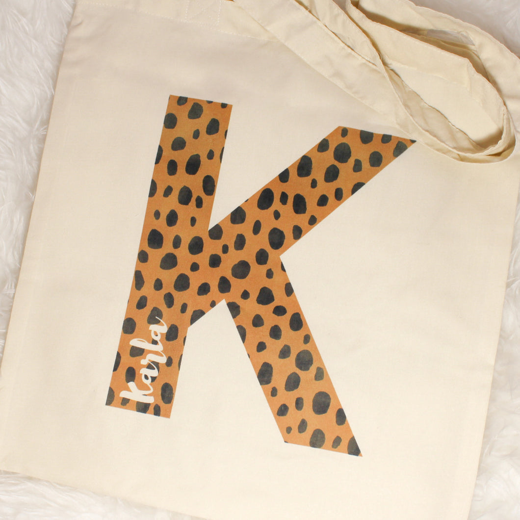 Personalised Cheetah Print Tote Bag