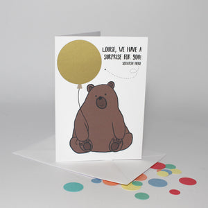 Personalised Bear Scratch off Card