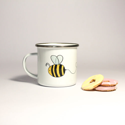 Personalised Enamel Bee Mug