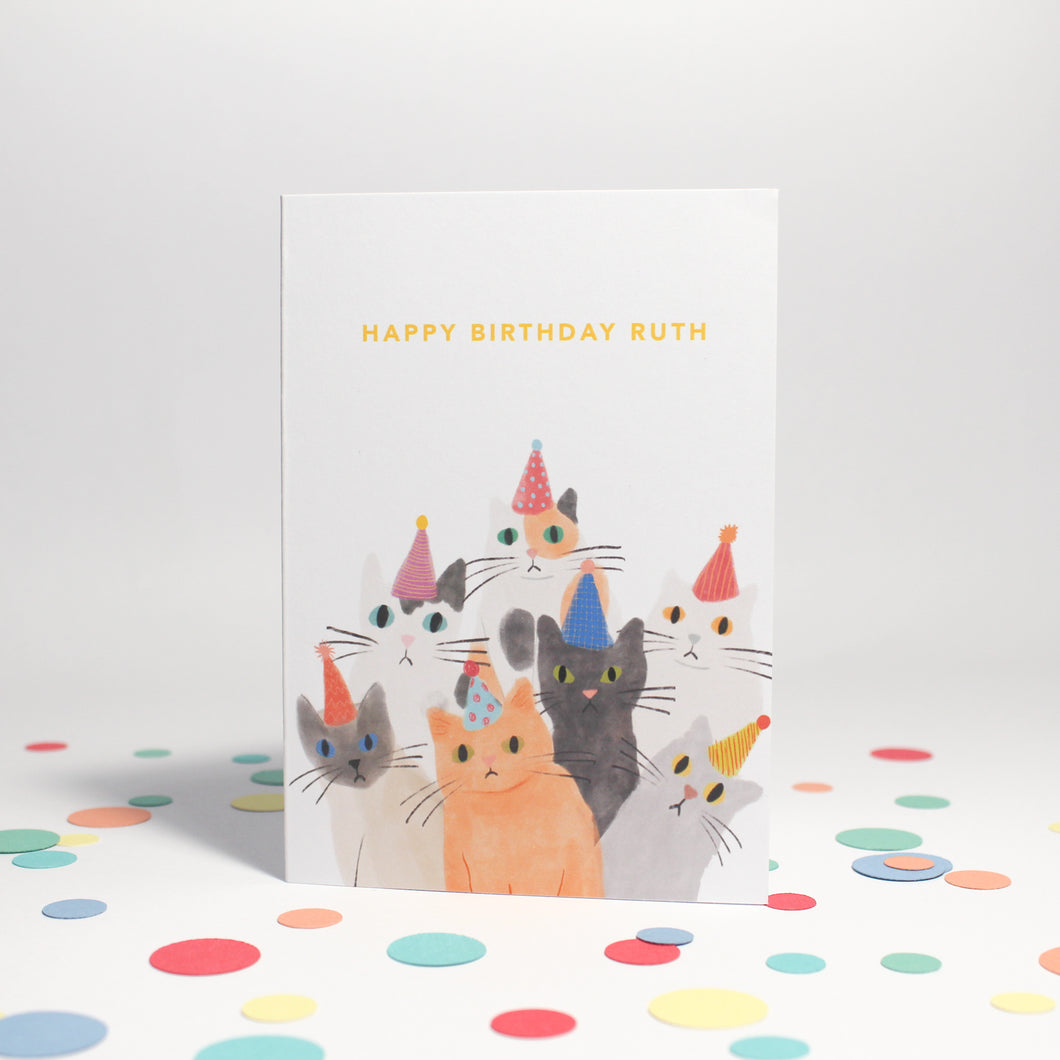 Personalised Illustrated Party Cats Card