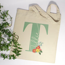 Load image into Gallery viewer, Personalised Flower Initial Name Tote Bag
