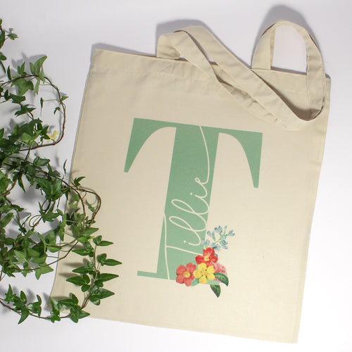 Personalised Flower Initial Name Tote Bag