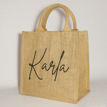 Load image into Gallery viewer, Personalised Name Jute Bag