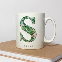 Load image into Gallery viewer, Personalised Pink and Green Leafy Mug
