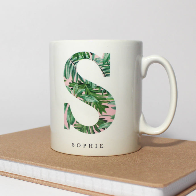 Personalised Pink and Green Leafy Mug