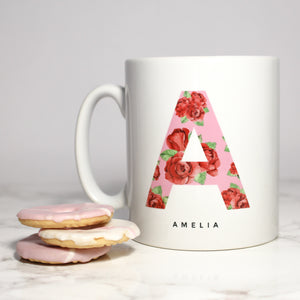 Personalised Rose Print Initial Mug