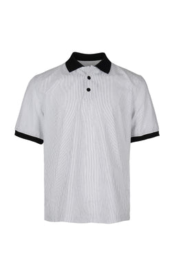 Front View of Men Contrast Collar Stripe Polo Shirt
