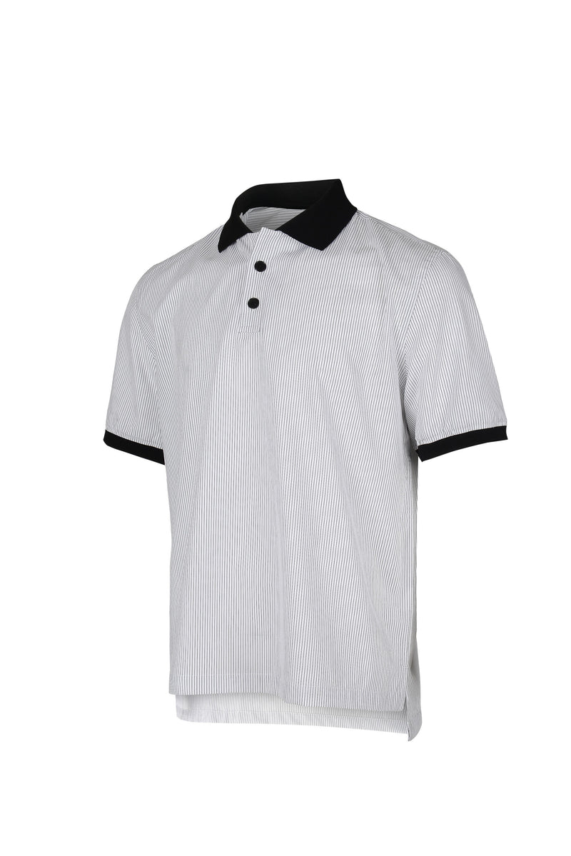 Side View of Men Contrast Collar Stripe Polo Shirt