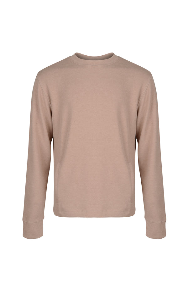 Front view of Men Back Pocket Block Sweatshirt in Camel
