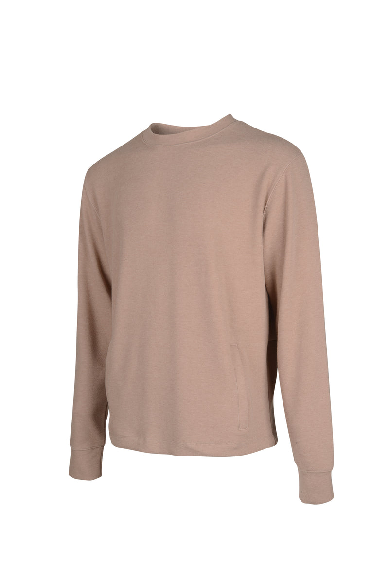 Side view of Men Back Pocket Block Sweatshirt in Camel