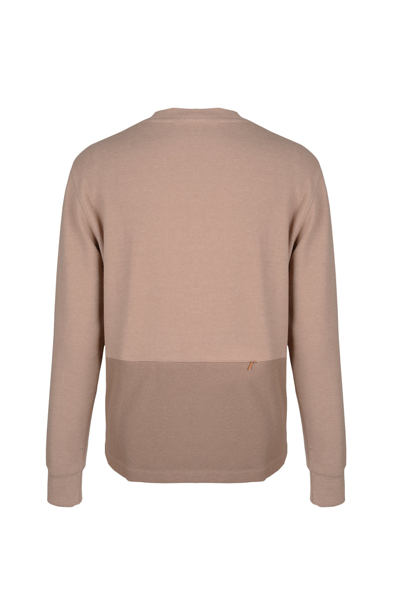 Back view of Men Back Pocket Block Sweatshirt in Camel