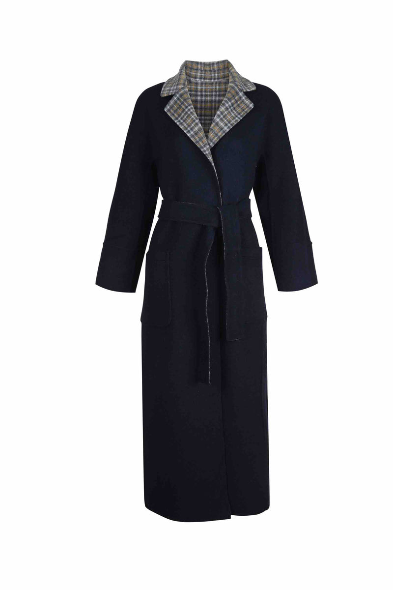 Front view of Women Reversible Handmade Wool Long Coat in Multi Plaid/ Dark Navy (Solid Side)