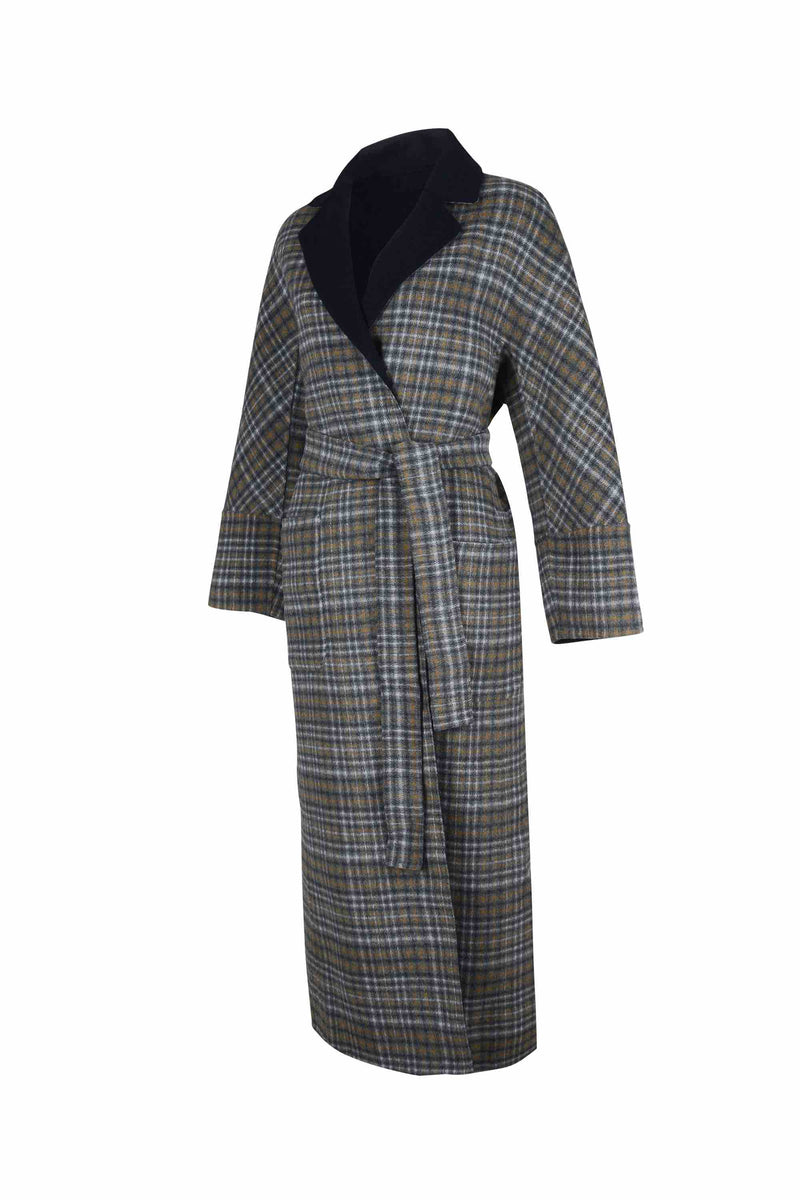 Side view of Women Reversible Handmade Wool Long Coat in Multi Plaid/ Dark Navy (Plaid Side)