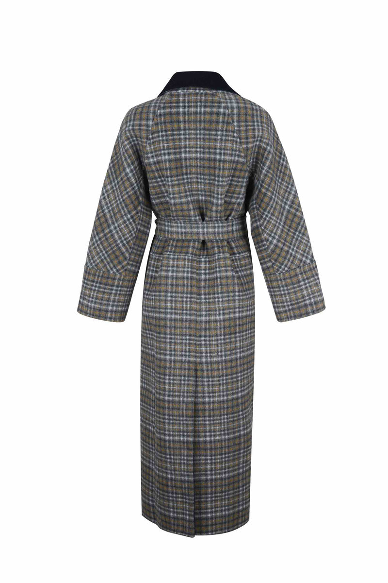 Back view of Women Reversible Handmade Wool Long Coat in Multi Plaid/ Dark Navy (Plaid Side)