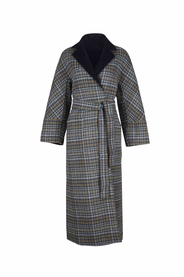 Front view of Women Reversible Handmade Wool Long Coat in Multi Plaid/ Dark Navy (Plaid Side)