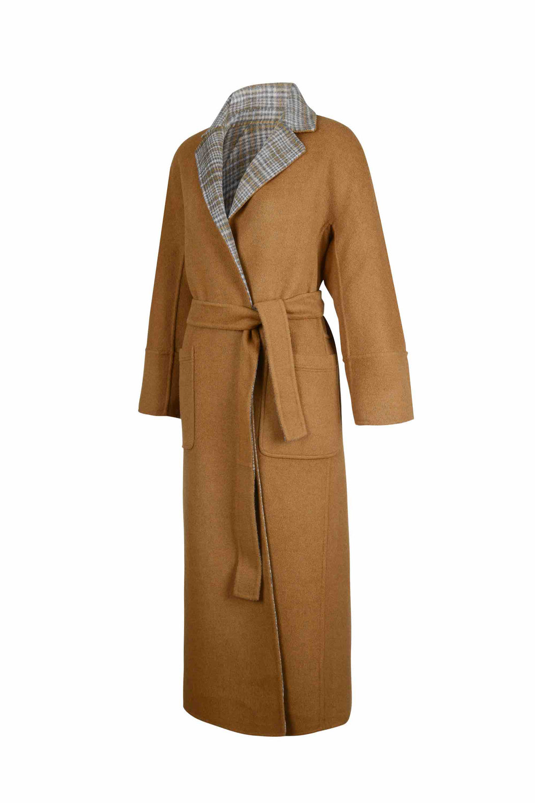 Back view of Women Reversible Handmade Wool Long Coat in Multi Plaid/ Camel (Solid Side)