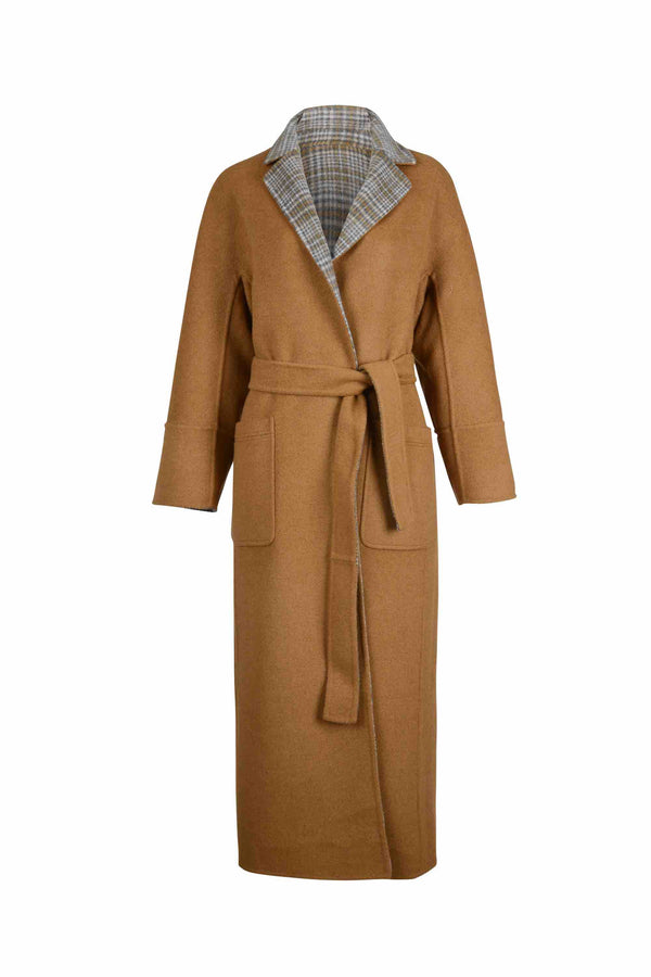 Front view of Women Reversible Handmade Wool Long Coat in Multi Plaid/ Camel (Solid Side)