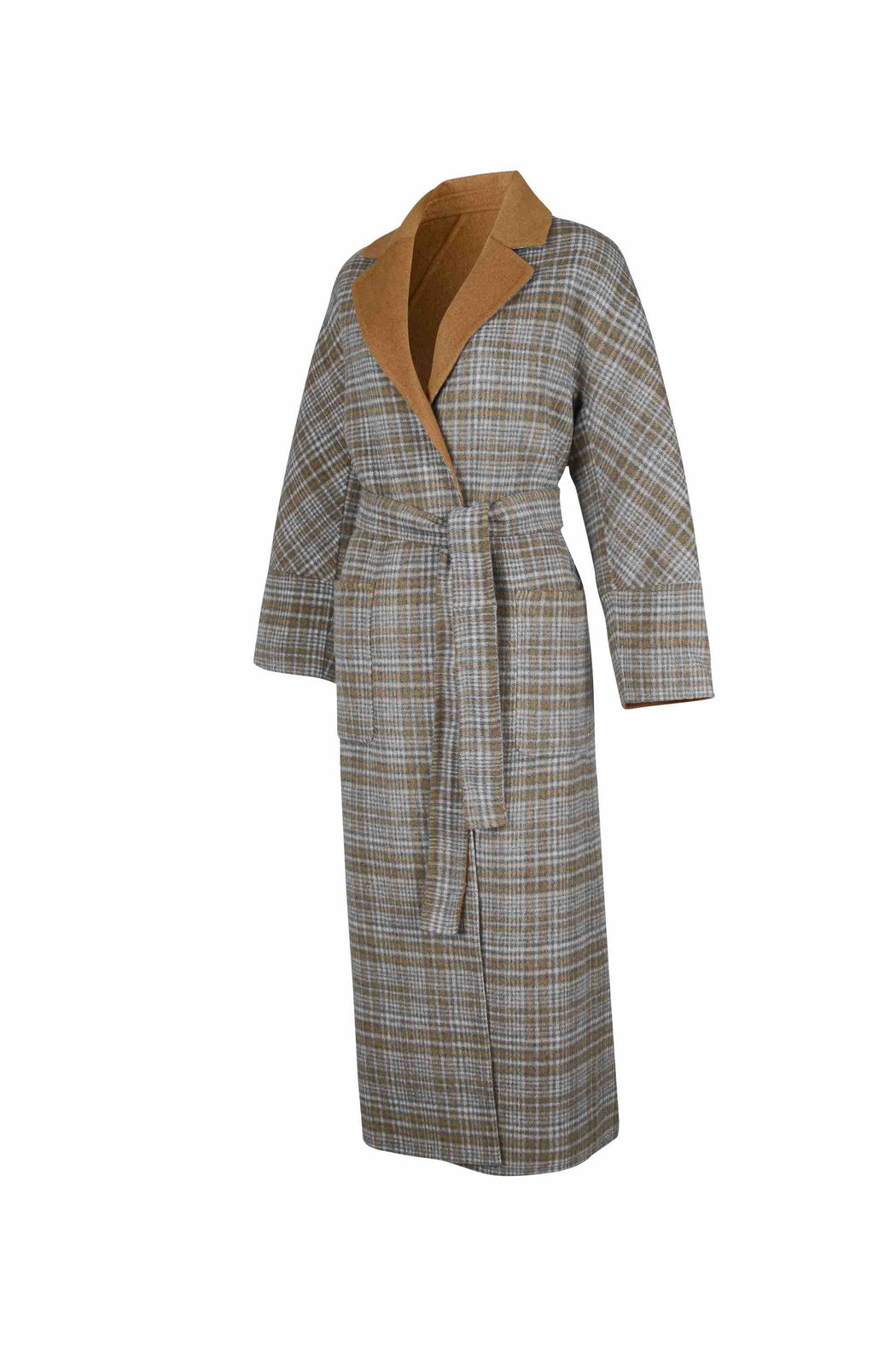 Side view of Women Reversible Handmade Wool Long Coat in Multi Plaid/ Camel (Plaid Side)