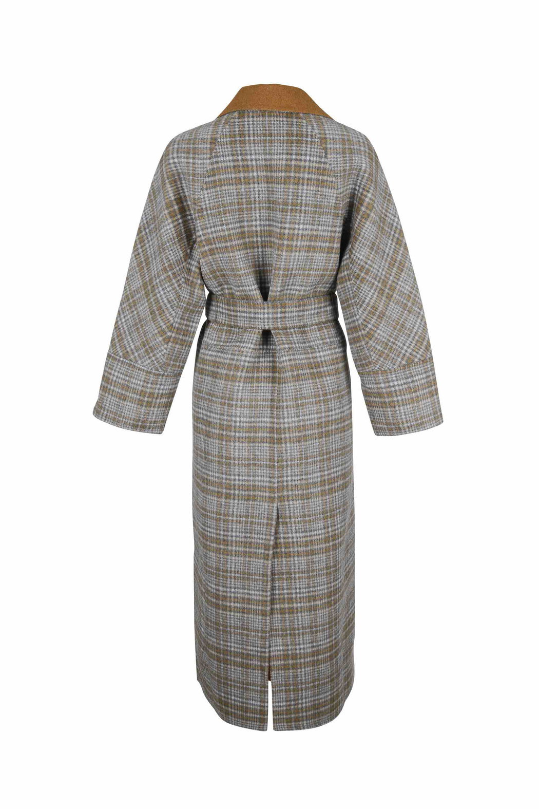 Back view of Women Reversible Handmade Wool Long Coat in Multi Plaid/ Camel (Plaid Side)