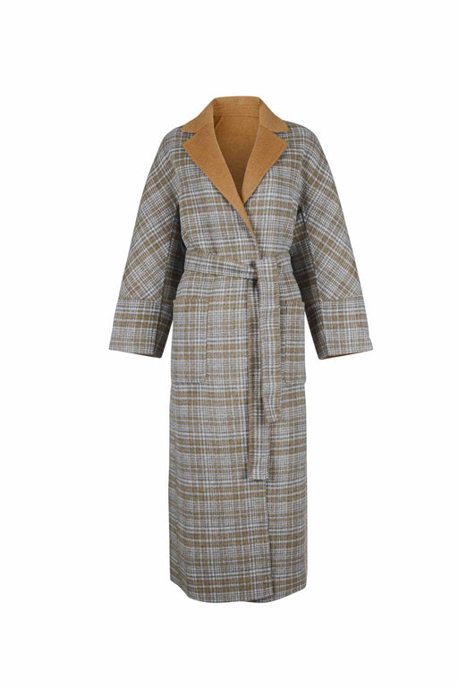 Front view of Women Reversible Handmade Wool Long Coat in Multi Plaid/ Camel (Plaid Side)