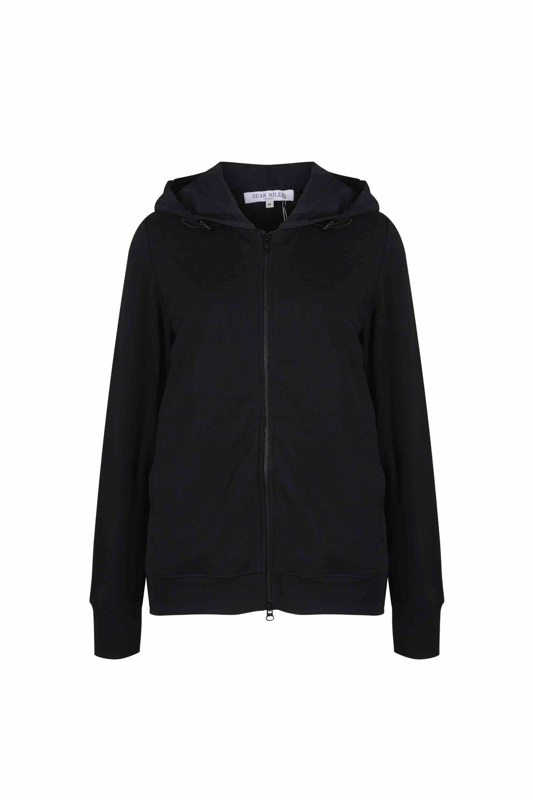 Front view of Women Back Pleated Hoodie Zip-Up made with Organic Cotton in Black