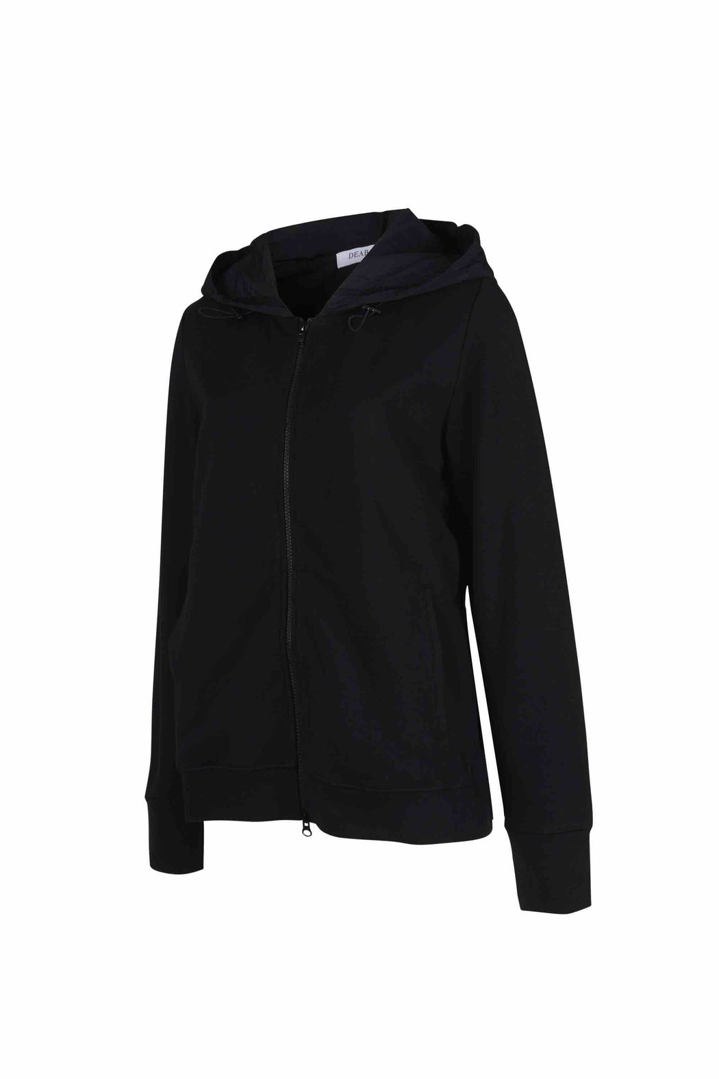 Side view of Women Back Pleated Hoodie Zip-Up made with Organic Cotton in Black