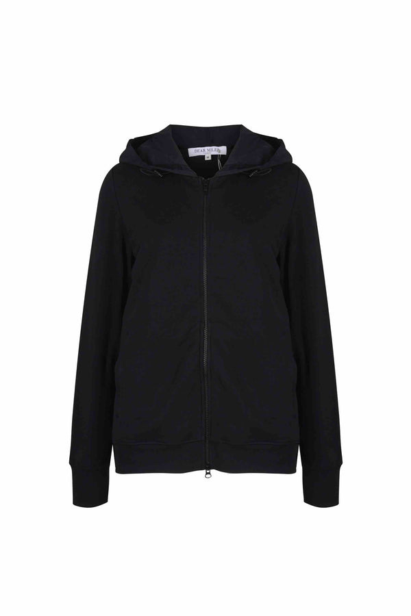 Back Pleated Hoodie Zip-Up