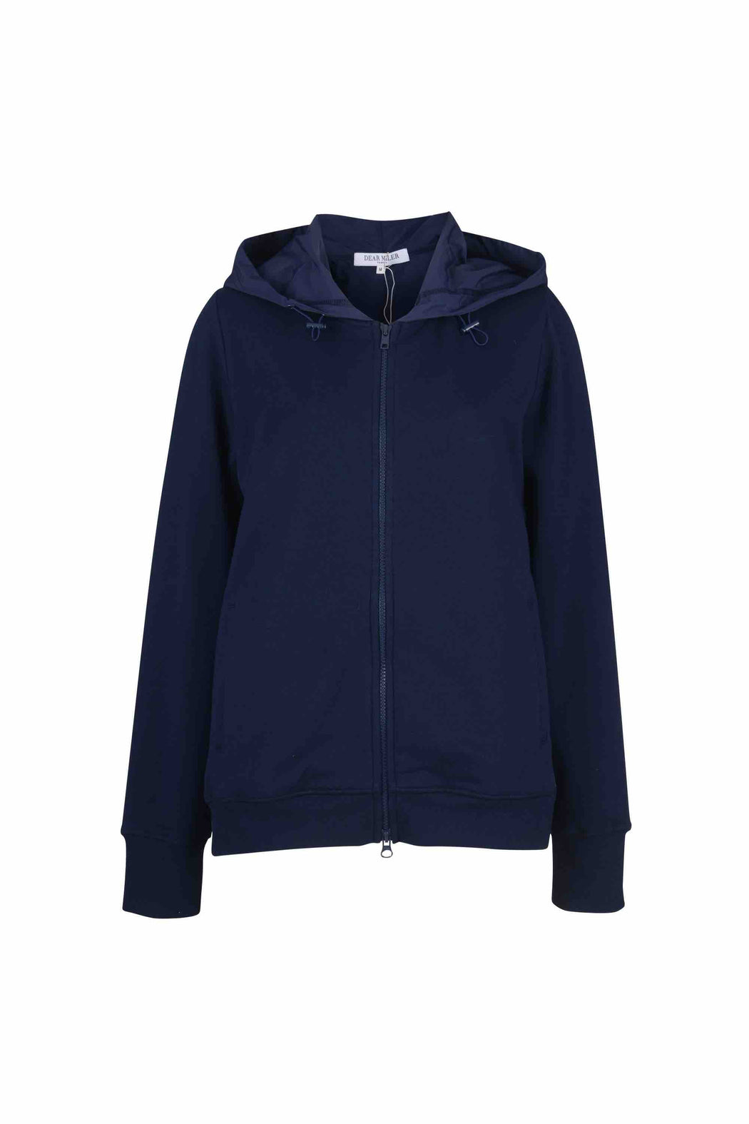 Front view of Women Back Pleated Hoodie Zip-Up made with Organic Cotton in Navy