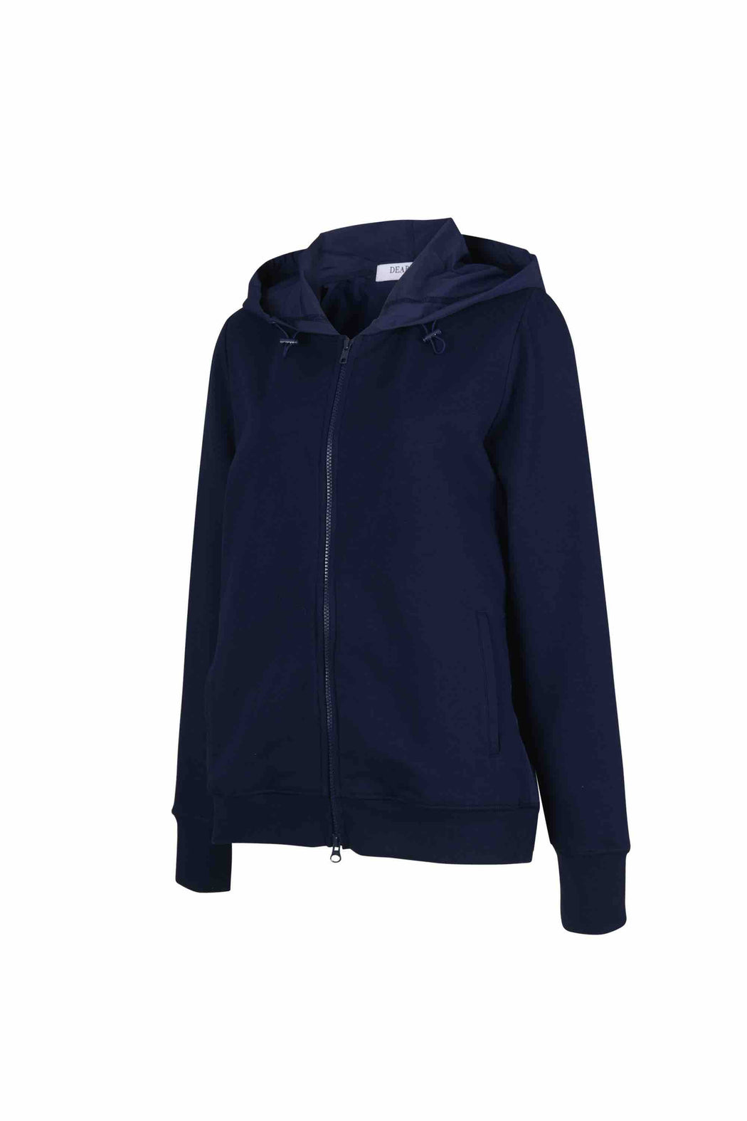 Side view of Women Back Pleated Hoodie Zip-Up made with Organic Cotton in Navy