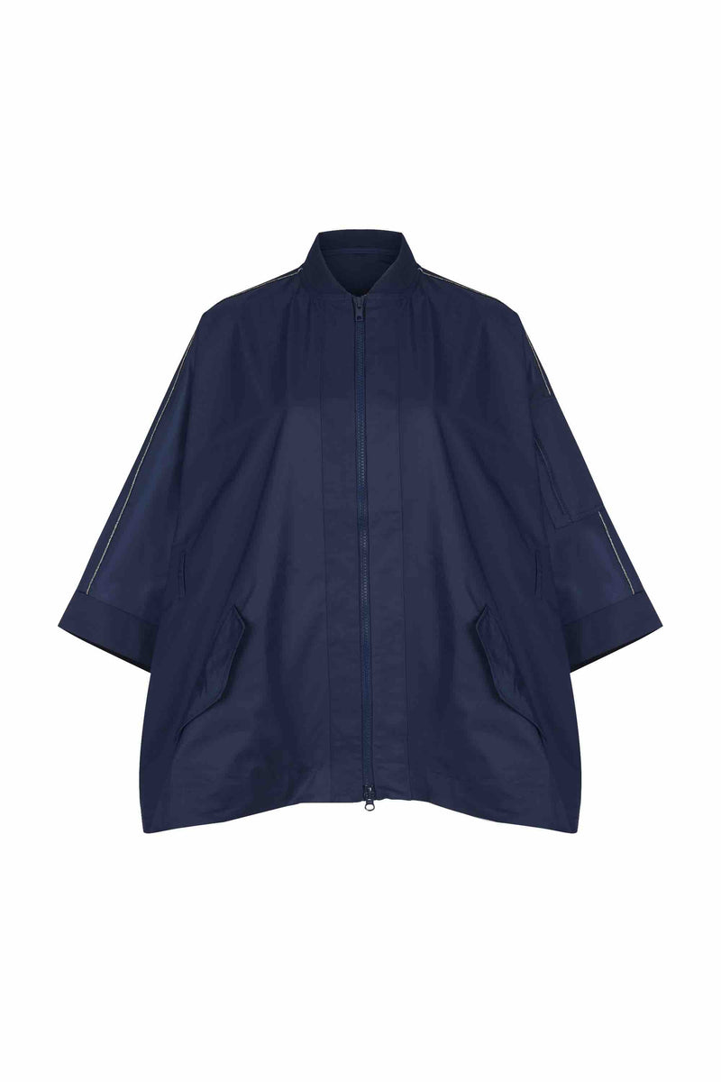 Front view of Women Drop Shoulder Jacket in Navy (without belt view)