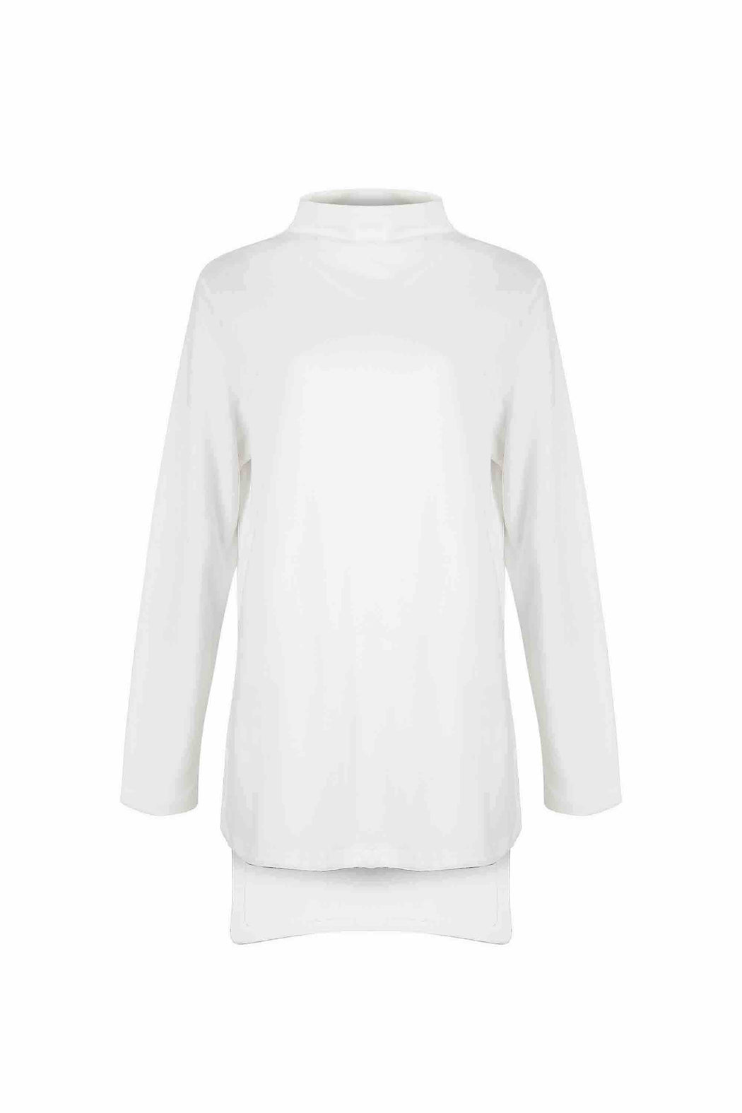 Front view of Women Longer Back Long Sleeve Sweatshirt, made with Organic Cotton in White