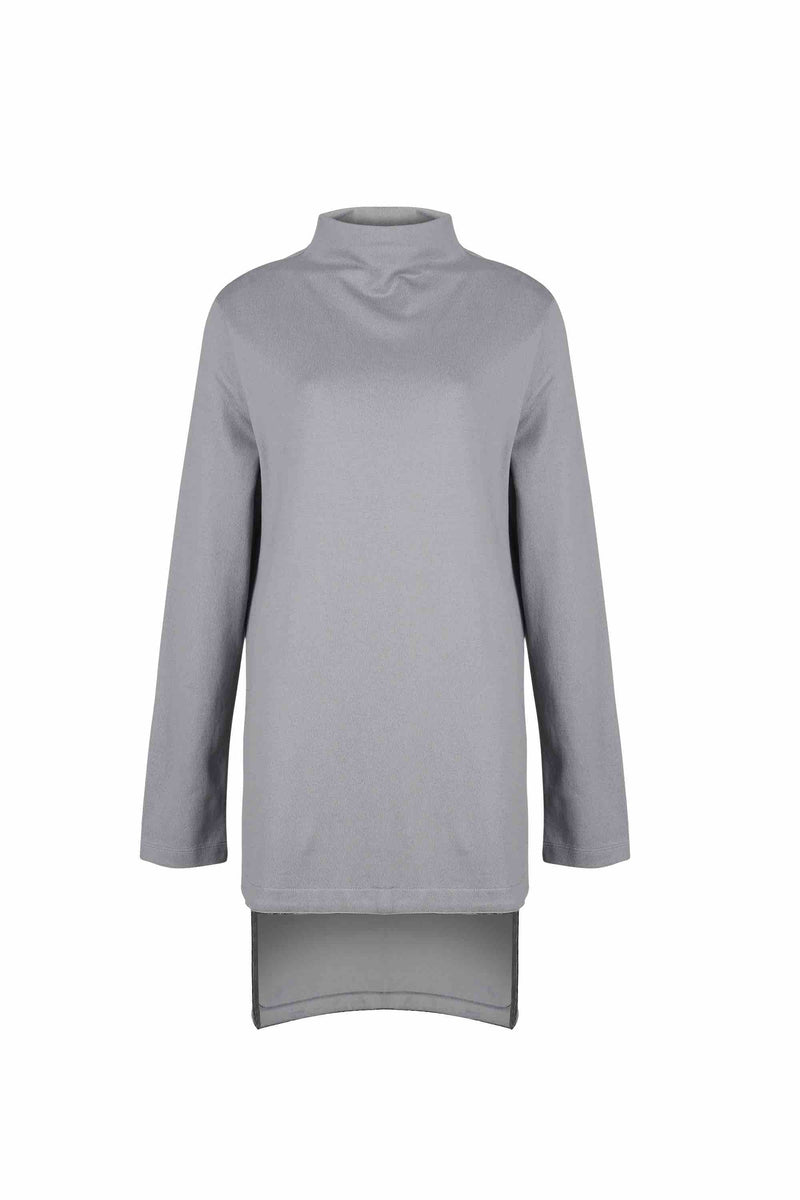 Front view of Women Longer Back Long Sleeve Sweatshirt, made with Organic Cotton in Grey