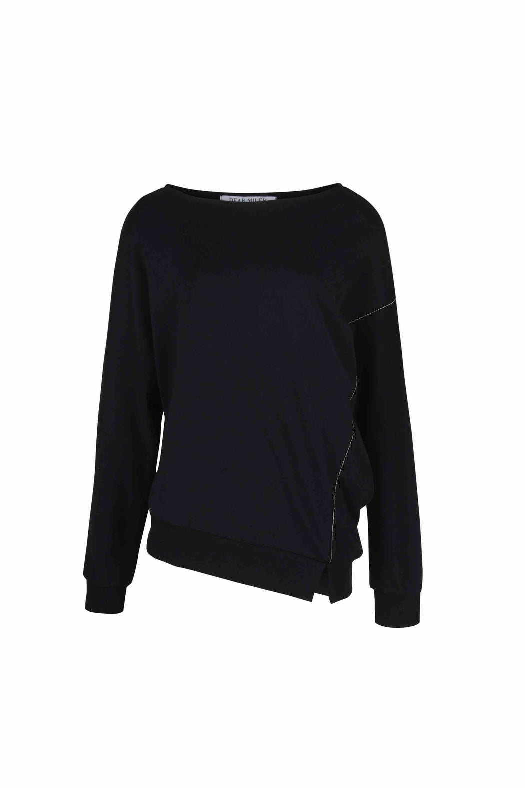 Front view of women Long Sleeve T-Shirt, Asymmetric hem beading detail made with Organic Cotton in Black