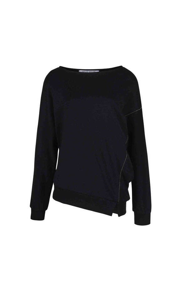 Asymmetric Self Blocked Long Sleeve