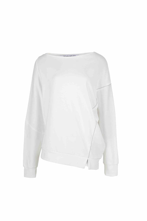 Front view of women Long Sleeve T-Shirt, Asymmetric hem beading detail made with Organic Cotton in White