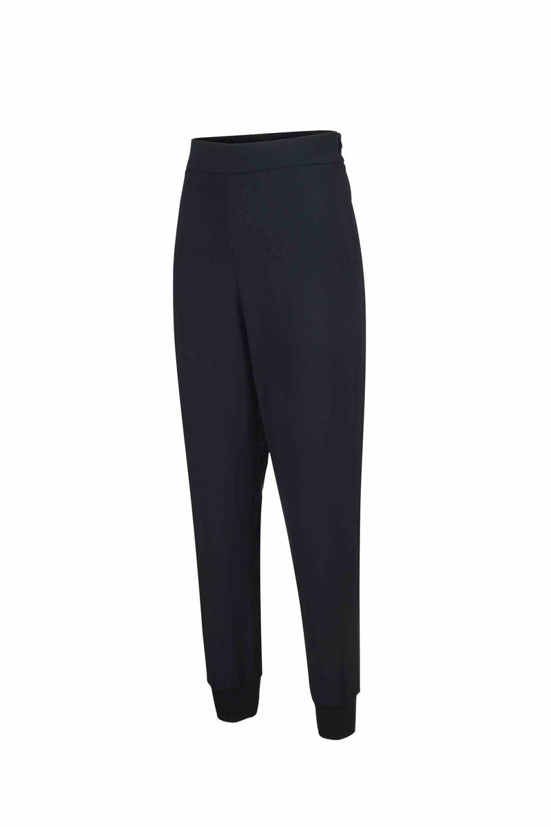Side view of Women Crepe Rib Knit Pants in Black