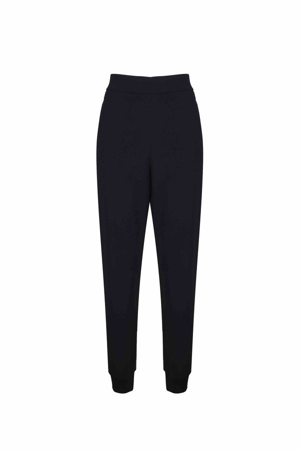 Front view of Women Crepe Rib Knit Pants in Black