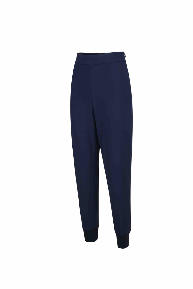 Side view of Women Crepe Rib Knit Pants in Navy