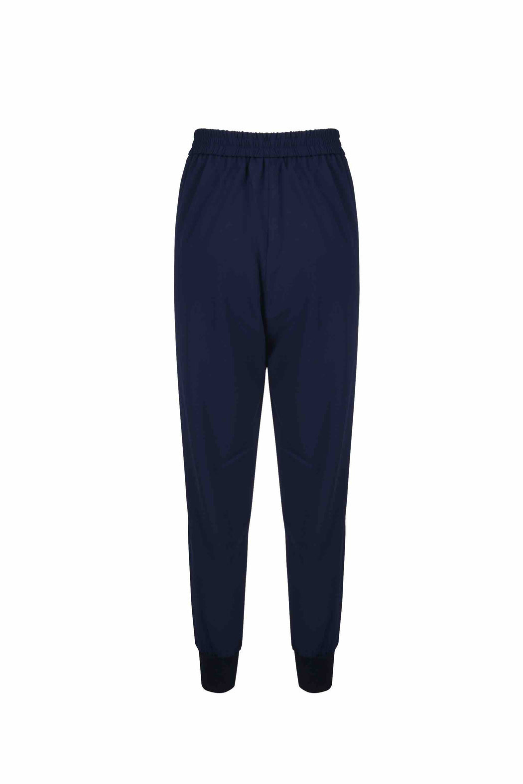 Back view of Women Crepe Rib Knit Pants in Navy