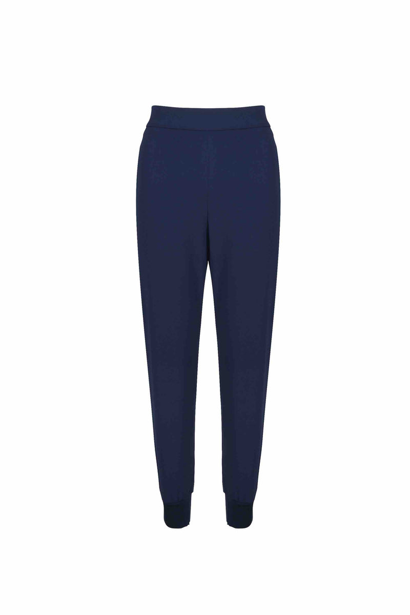 Front view of Women Crepe Rib Knit Pants in Navy