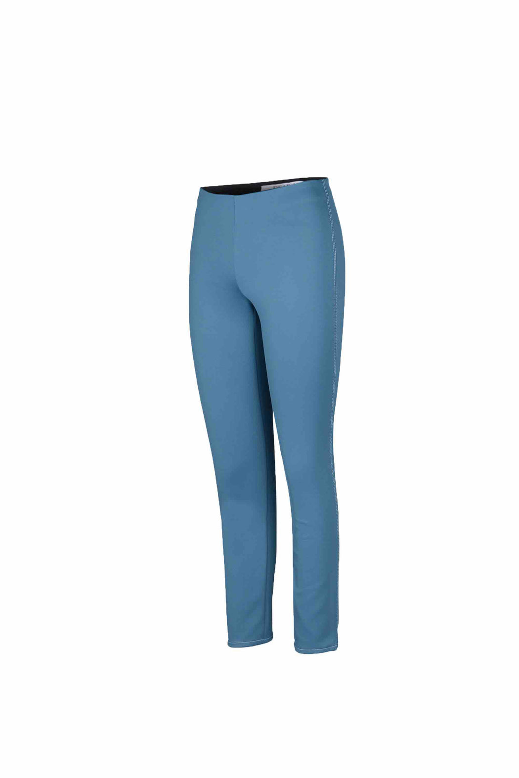 Side view of Women Super Stretchy Leggings in Denim Blue/ Green