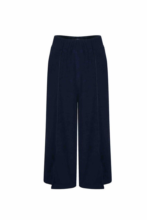Front view of Women Crop Wide-Leg Pants, made with Organic Cotton in Navy