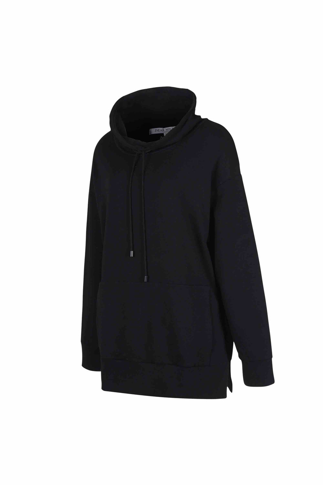 Side view of Women Draped Collar Pullover, made with Organic Cotton in Black
