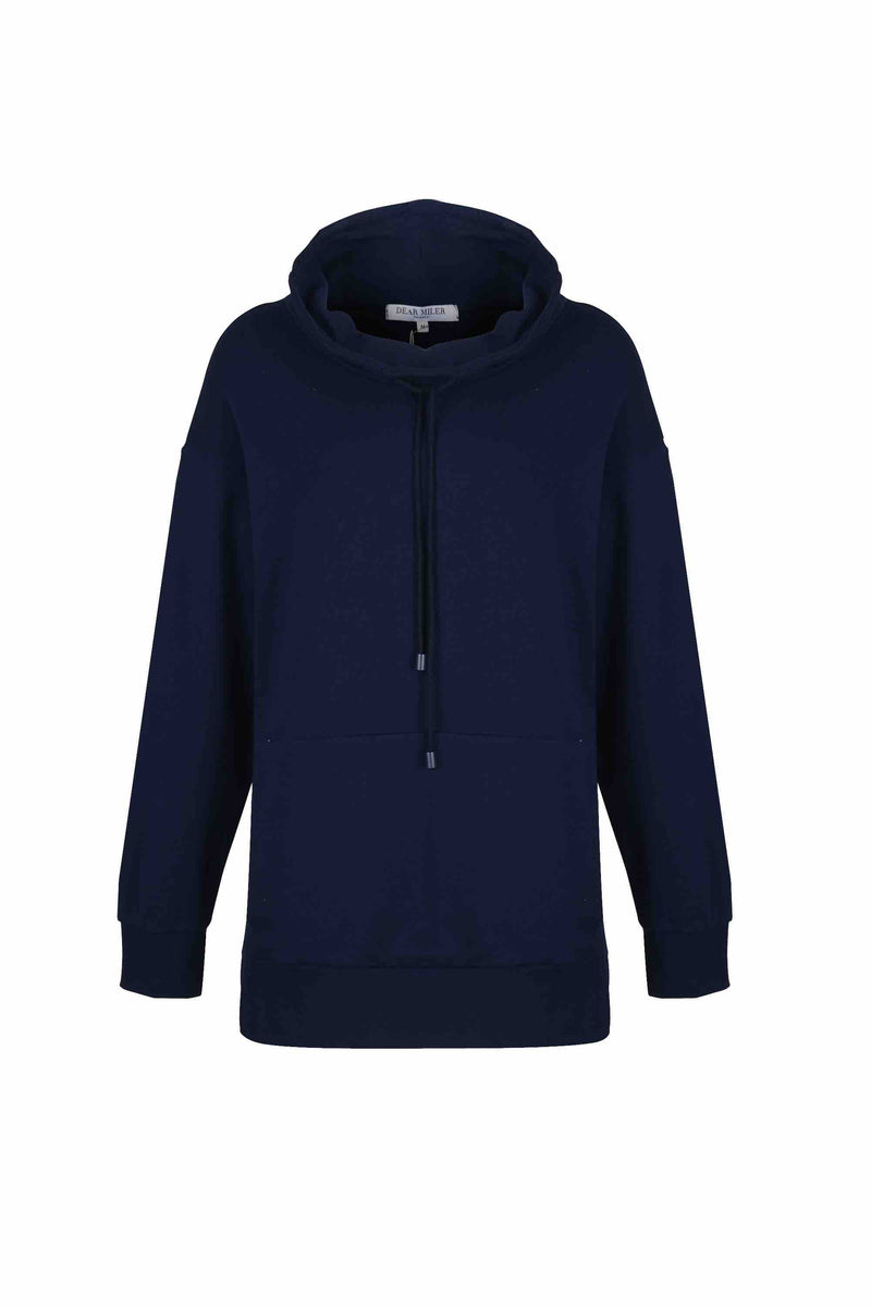 Front view of Women Draped Collar Pullover, made with Organic Cotton in Navy