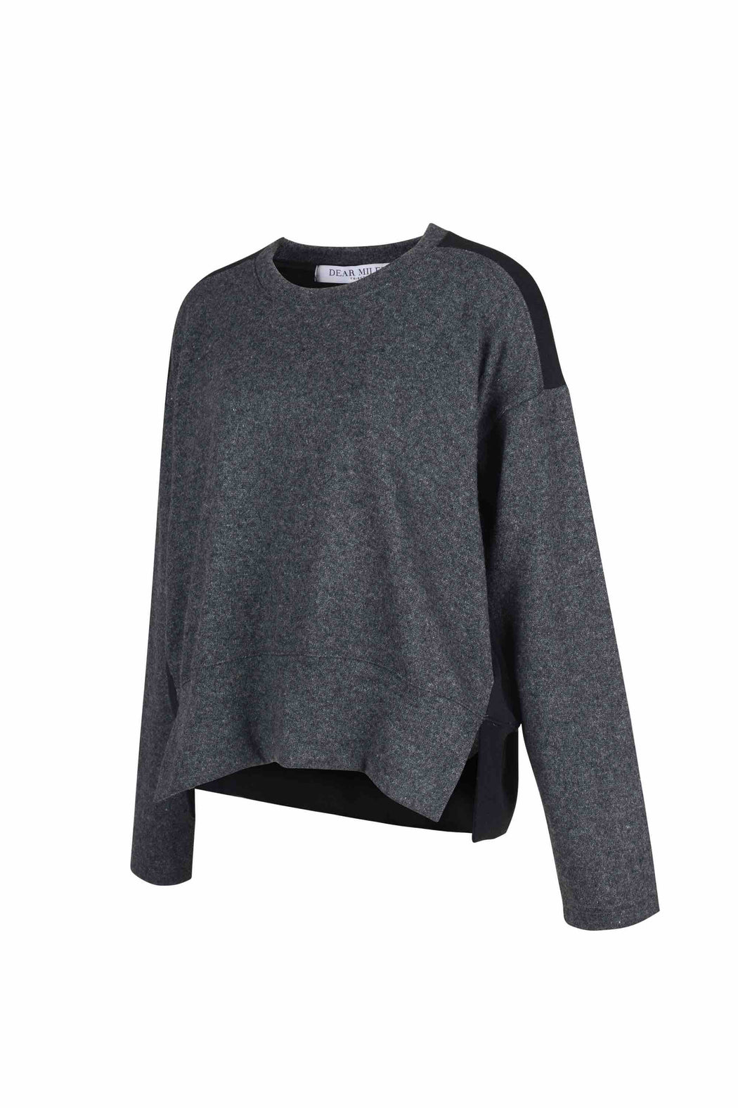 Side view of Women Fabric Block Sweater, made with Organic Cotton and wool blends in black/melange grey