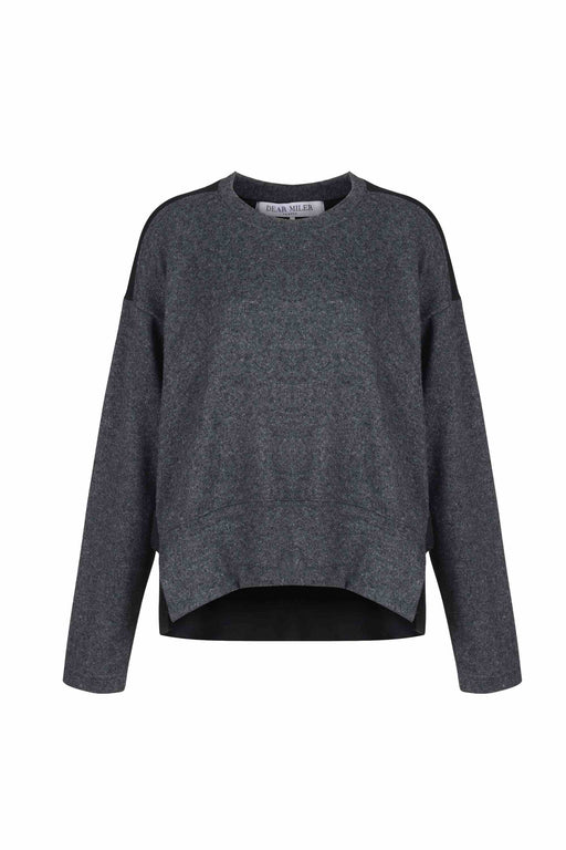 Front view of Women Fabric Block Sweater, made with Organic Cotton and wool blends in black/melange grey